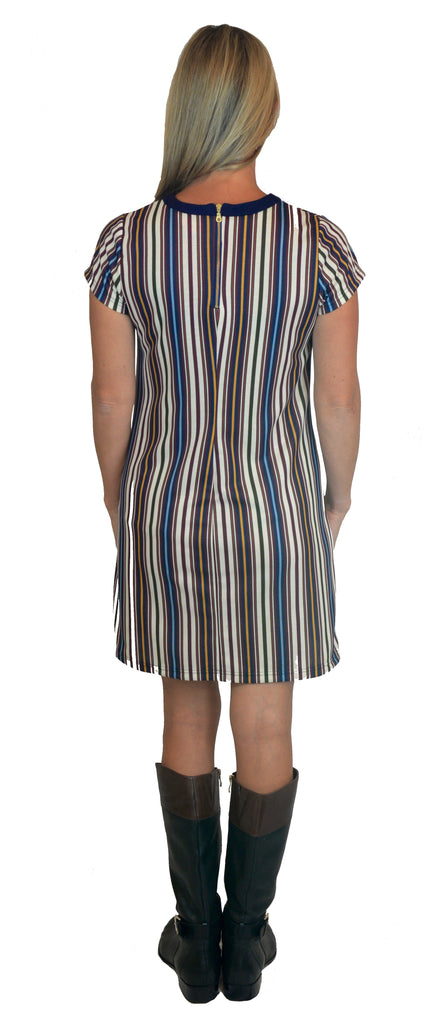 Sierra Shift Dress in Yuppie Stripe Ponte (Final Sale)