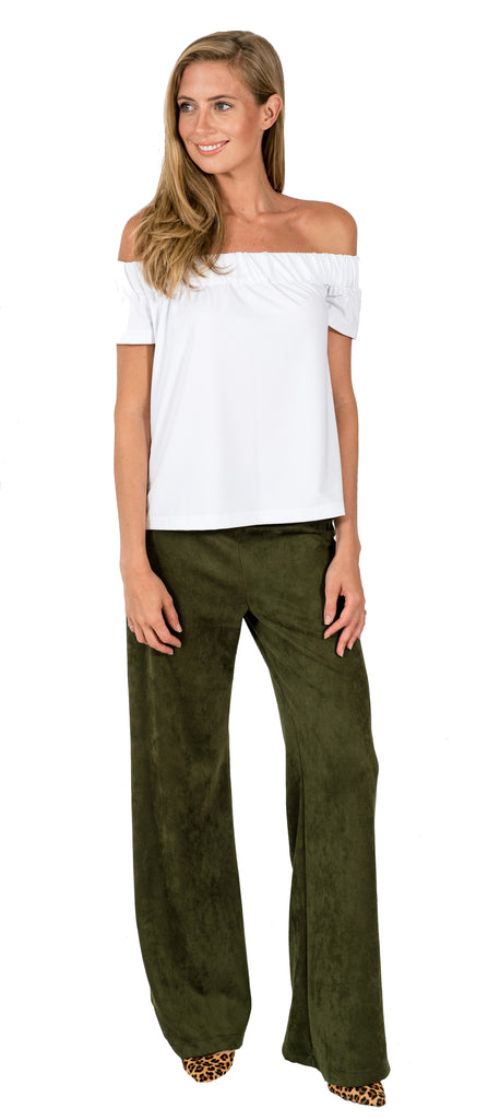 Tucker Wide Leg Palazzo Pants in Olive Suede (Final Sale)