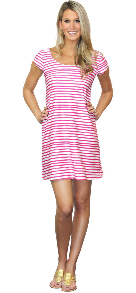 Kaeli Smith Twiggy Short Sleeve Swing Dress in Effortless Stripe Pink and White (XS-XL)