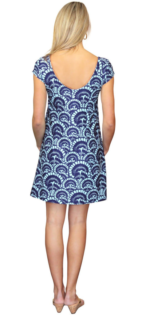 Kaeli Smith Twiggy Short Sleeve Swing Dress in Flower Fantasy Blue (XS-XL)