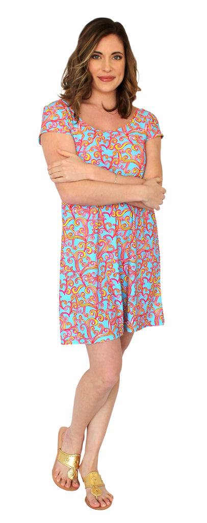 Twiggy Swing Dress in Sea Swirls (Final Sale)