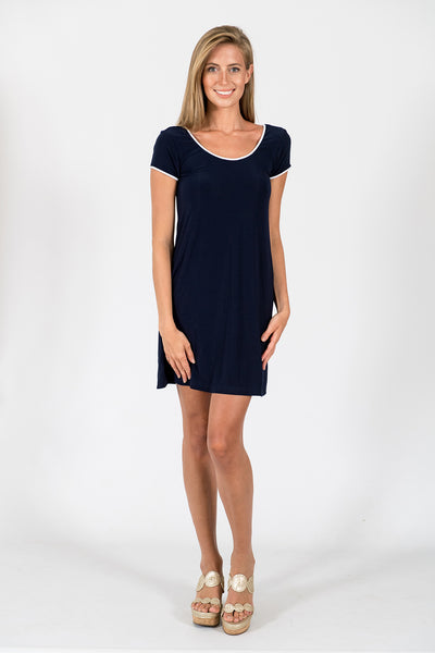 Twiggy Swing Dress in Stormy Navy