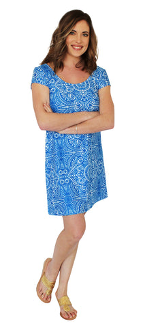 Lilly Fit & Flare Dress in Flower Fantasy Blue