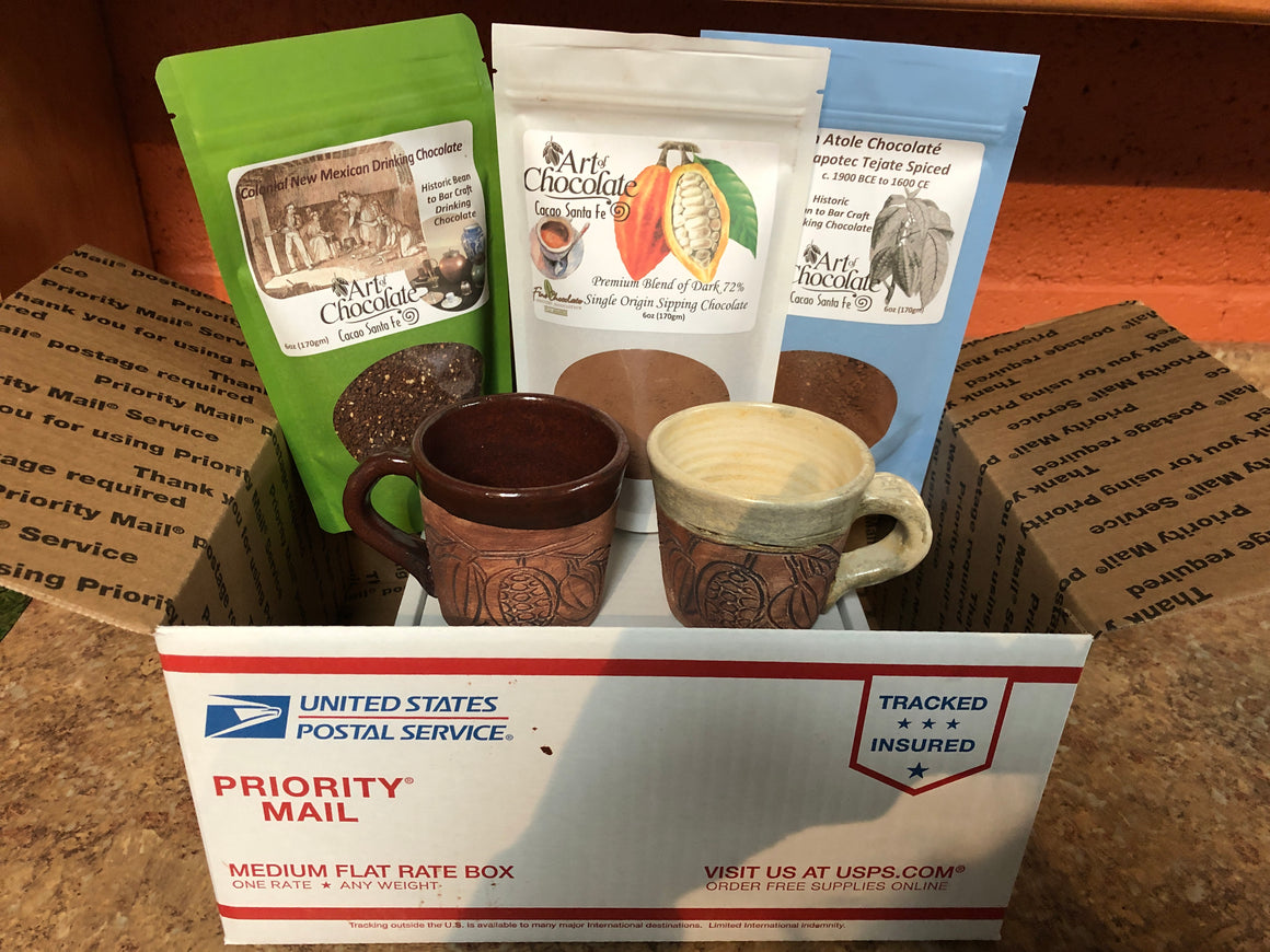 Care Package #2 Sipping Chocolate and Cups Gift Set