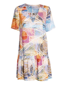 Geometric Art Print Tiered Dress