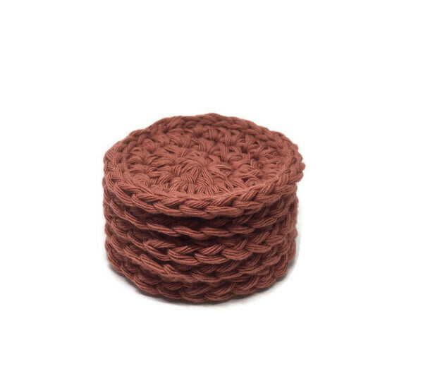 Cotton Face Scrubbie – Brick Red