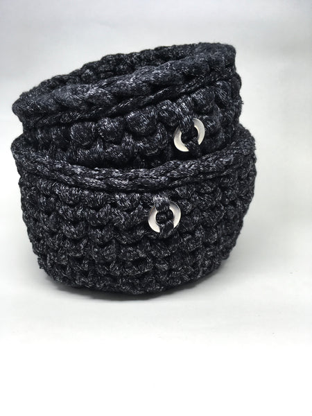 Crochet Basket, Black & Grey Set