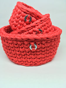 Crochet Basket, Bright Red/Orange Set