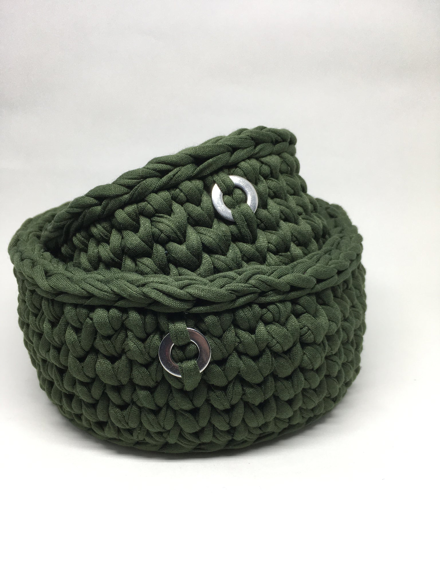 Crochet Basket, Dark Green Set