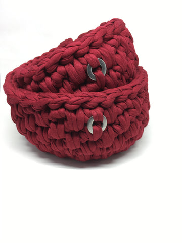 Crochet Basket, Deep Red Set