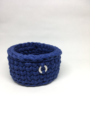 Crochet Basket, Denim Blue – 14x7cm