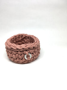 Crochet Basket, Dusty Pink – 10x6cm