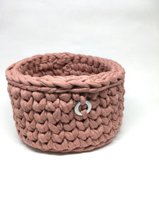 Crochet Basket, Dusty Pink – 15x9.5cm