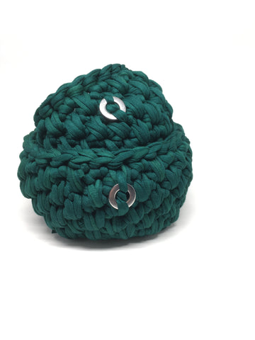 Crochet Basket, Forest Green Set