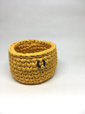 Crochet Basket, Golden Yellow – 11x8cm