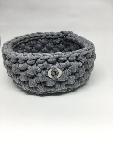Crochet Basket, Grey – 15x7cm