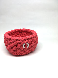 Crochet Basket, Hot Pink – 11x7.5cm