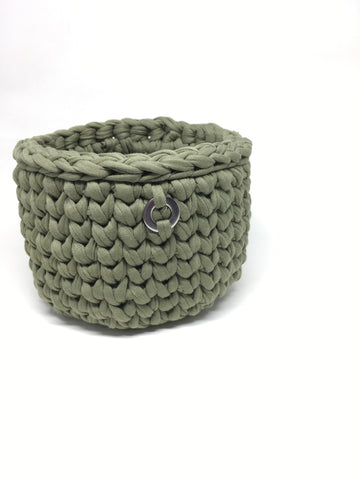 Crochet Basket, Sage Green – 14x11cm