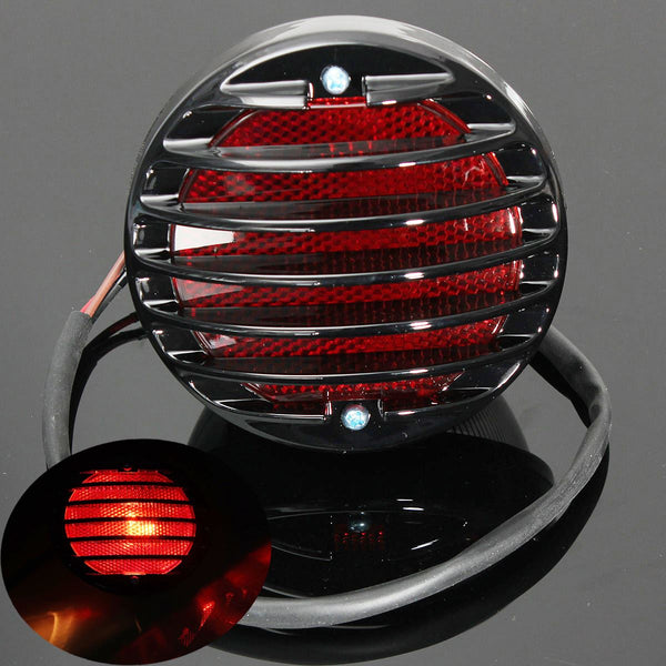 Motorcycle Tail Brake Light For Harley Bobber Chopper Custom Black 12V