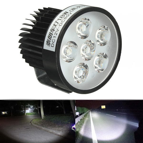 Motorcycle Bright 18W 6 LED Headlight Work Driving Spot Light Fog Lamp Scooter 12/24V