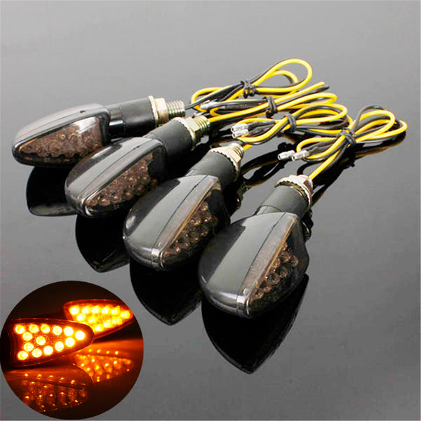 4pcs 14 LED UNIVERSAL MOTORCYCLE MOTORBIKE BLACK SMOKED TURN SIGNAL INDICATORS LIGHT BLINKER