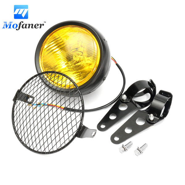 Black Amber Motorcycle Headlight Grill Retro Vintage Bracket Mask Mount Head Lamp For Cafe Racer Bobber Old School