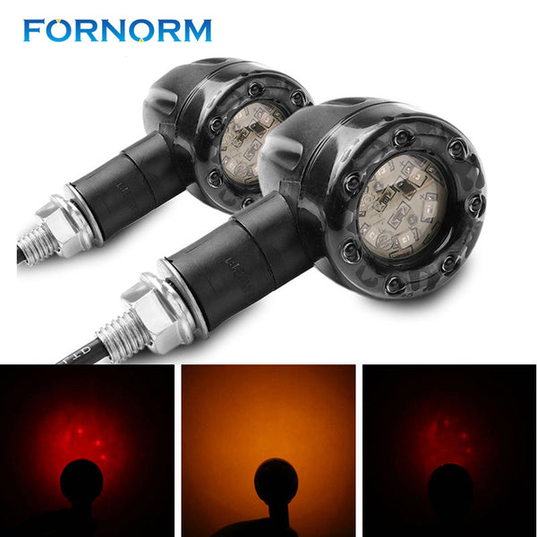 FORNORM DC 12V Motorcycle Turn Signal Brake Lights 2pcs for Harley Jialing Chrome Scooter Stop Lights Amber Red Indicator Lamp