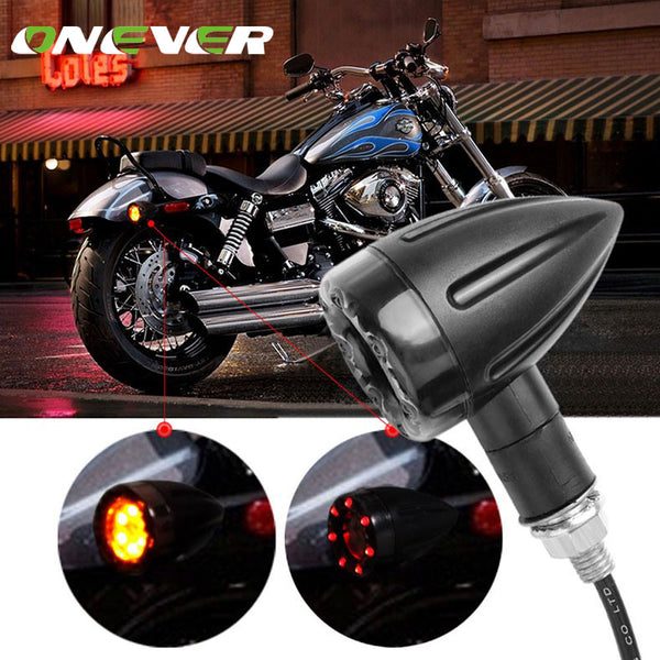 Onever 2pcs 12V Motorcycle Brake Lights Turn Signal Light Brake Stop Lights Amber Red Indicator Lamp For Harley Chrome Scooter