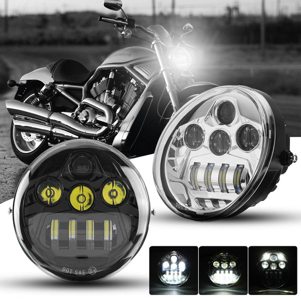 DOT E9 60W Motorcycle LED Headlight Hi-Lo Beam DRL for Harley for Davidson VROD VRSC