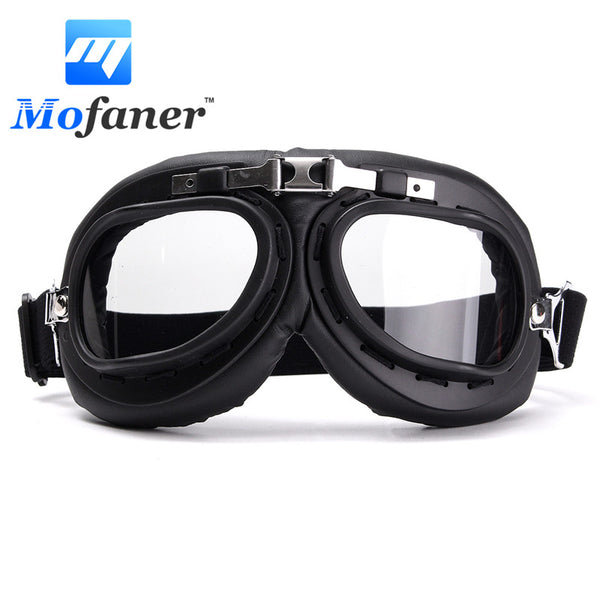 Mofaner Motorcycle Biker Flying Chrome Goggle Helmet Glasses For Harley Cafe Racer Protector Windproof Anti-UV ABS PC lens
