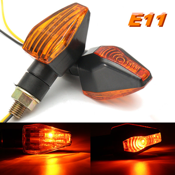 2x 12V Universal Motorcycle Signal Lamp Motorbike Turn Signal Indicator Light E-Marked