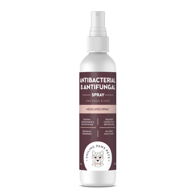 Medicated Spray For Dogs & Cats - Antiseptic, Antibacteria & Antifungal - Contains Chlorhexidine & Ketoconazole