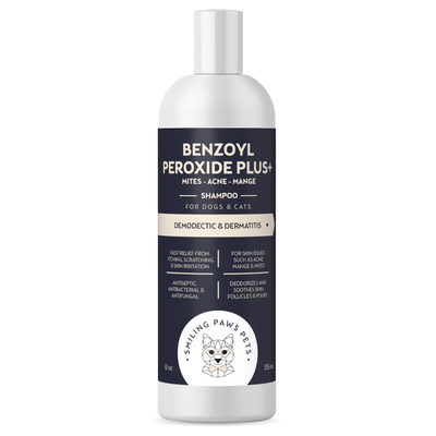 Advanced+ Benzoyl Peroxide flea shampoo for dogs and cats - Effective Dermatitis and Demodectic mange treatment