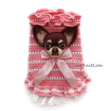 Needle Felting Dog Apple Head Chihuahua with Pink Crochet Dog Clothes by Myknitt