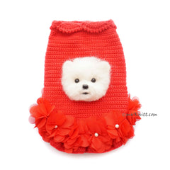 Dog Portrait Custom in Red Dress Ruffle Crochet 3D93 Myknitt