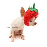 Strawberry Dog Toy Amigurumi Crochet, Funny Pet Photo Props Handmade by Myknitt