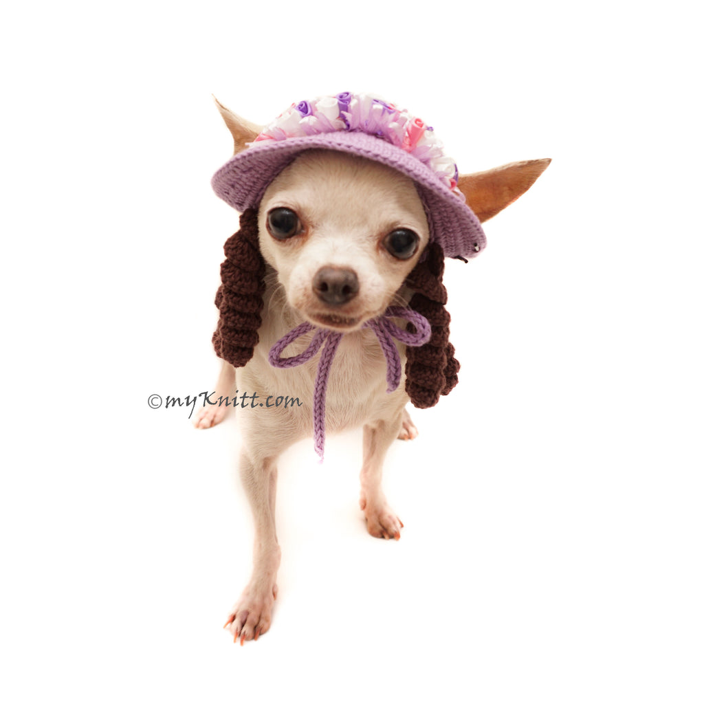 Purple Dog Sun Hat Crochet with Dreadlocks, Chihuahua Hat Crochet DB13