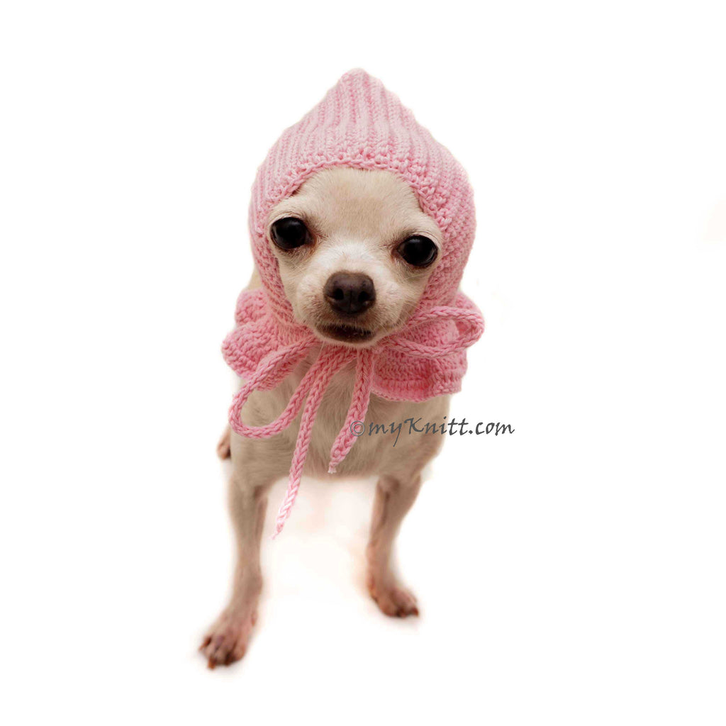 Pink Dog Hat Crochet, Dog Hood Custom, Dog Hood Showl, Chihuahua Ear Warmer DB14