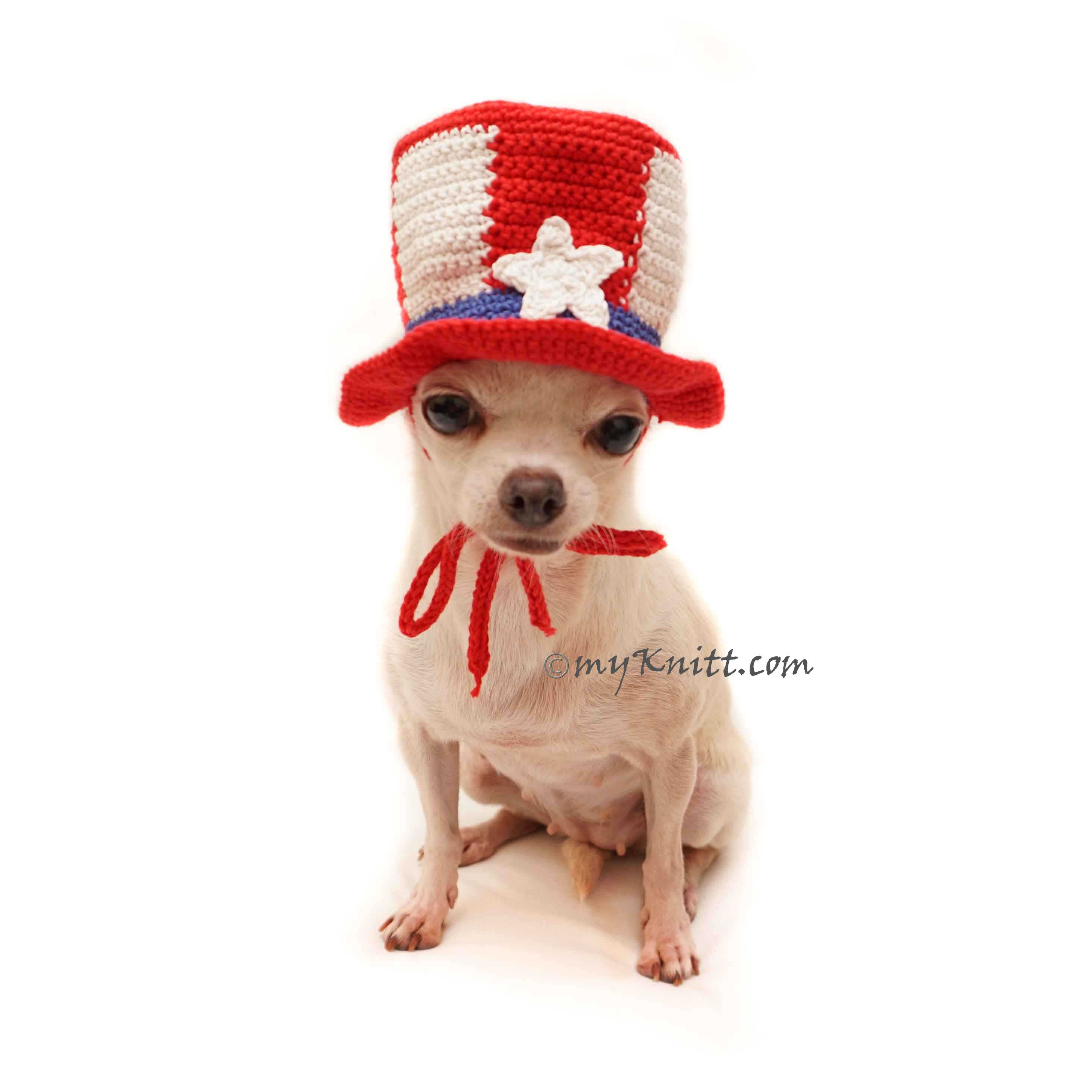 Uncle Sam Top Hat for Pets, Dog Top Hat Red White Blue, Dog Top Hat Crochet DB16 - Myknitt