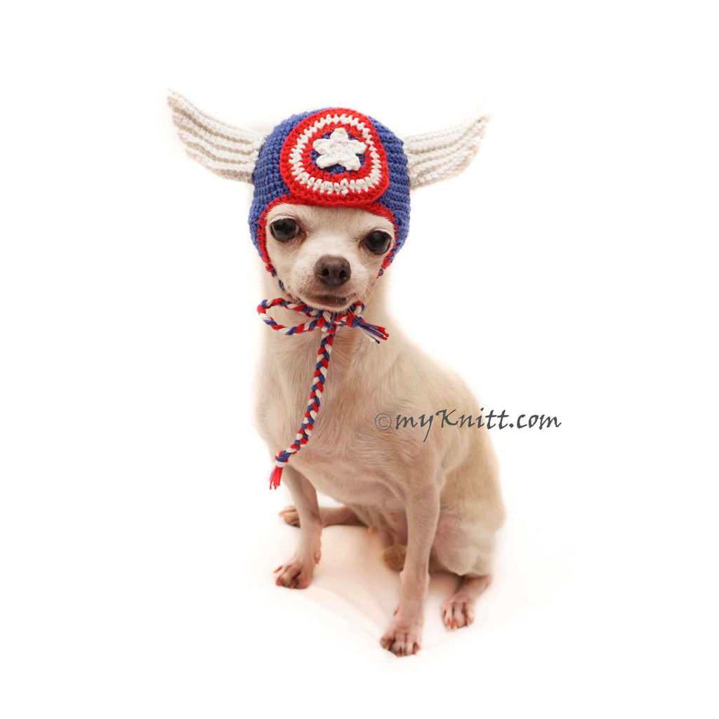 Super Hero Dog Hat Crochet, Cat Hat Crochet, July 4th Pet Hat Crochet, America Hero Pet Hat Costume DB17