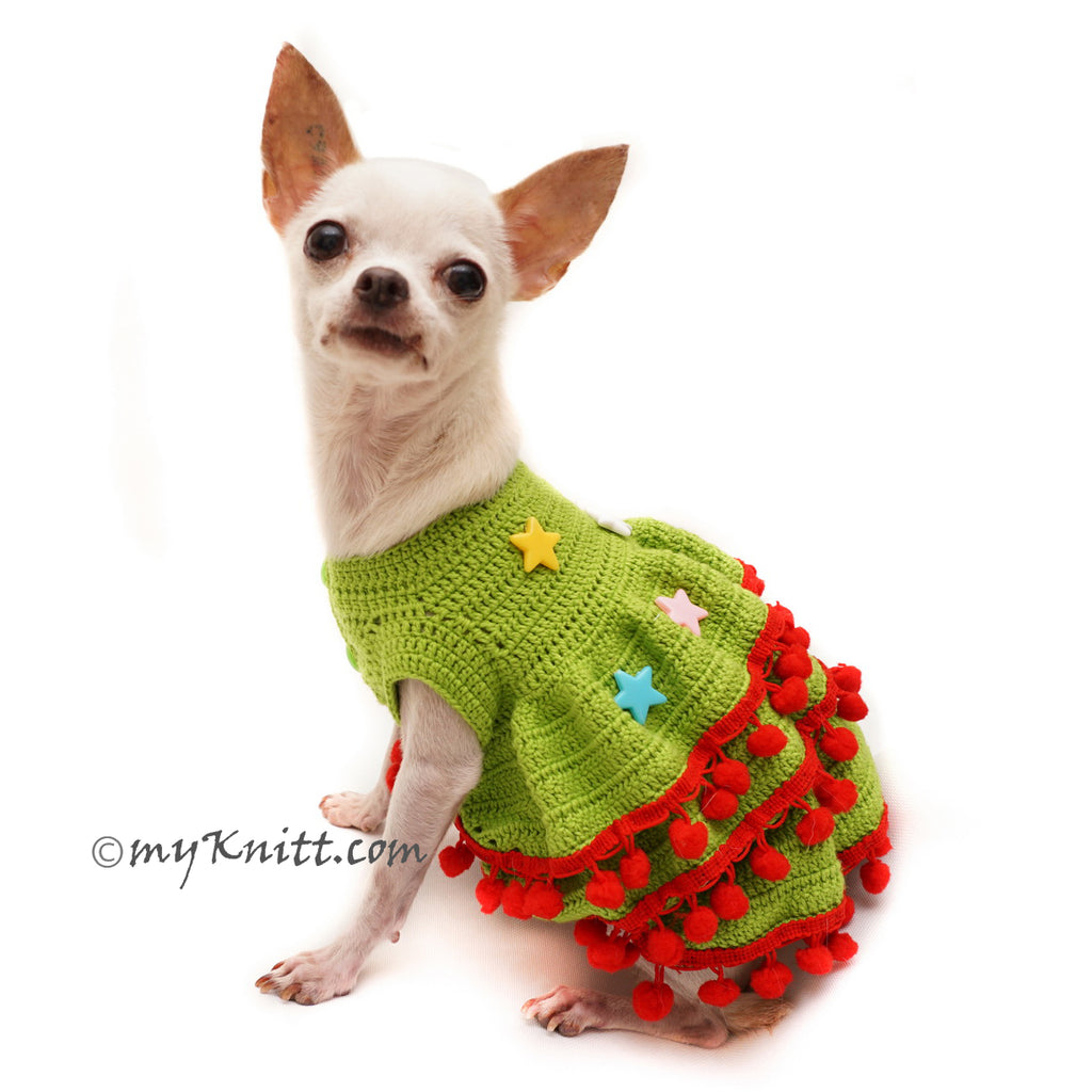 Christmas Tree Dog Dress Ruffled Crochet Holiday Pet Costume with Stars Apparel DF100