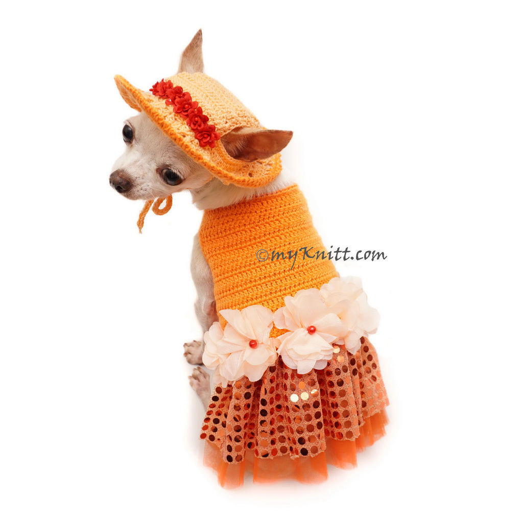 Orange Tutu Dog Dress Bling Bling With Flowers Apparel and Matching Sun Hat DF101