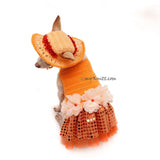 Orange Tutu Dog Dress Bling Bling With Flowers Apparel and Matching Sun Hat DF101 by Myknitt (1)