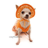 Orange Tutu Dog Dress Bling Bling With Flowers Apparel and Matching Sun Hat DF101 by Myknitt (2)