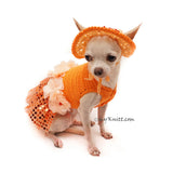 Orange Tutu Dog Dress Bling Bling With Flowers Apparel and Matching Sun Hat DF101 by Myknitt (3)