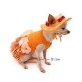 Orange Tutu Dog Dress Bling Bling With Flowers Apparel and Matching Sun Hat DF101 by Myknitt (4)