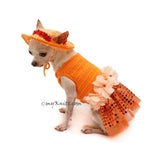 Orange Tutu Dog Dress Bling Bling With Flowers Apparel and Matching Sun Hat DF101 by Myknitt (5)