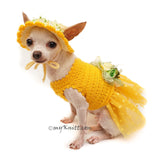 Polka Dot Dog Dress Tutu with Matching Sun Hat Flowers DF102 by Myknitt (1)