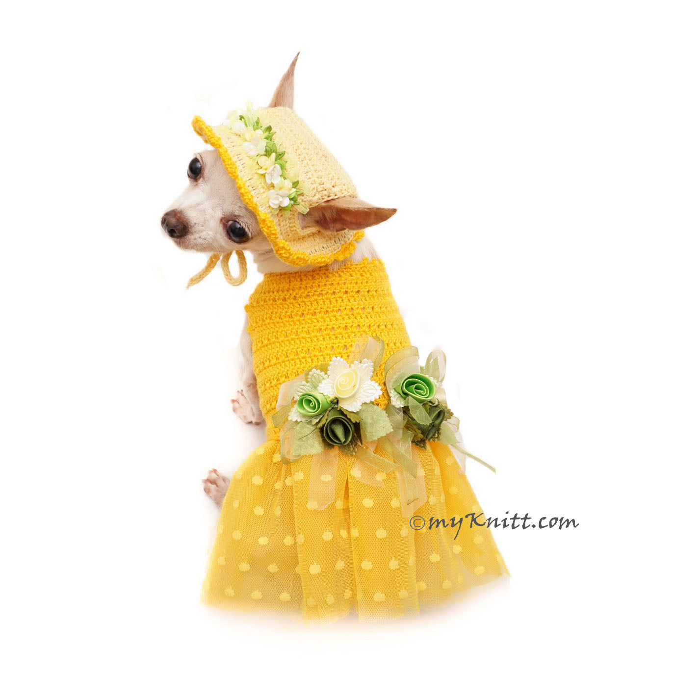 Polka Dot Dog Dress Tutu with Matching Sun Hat Flowers DF102 by Myknitt