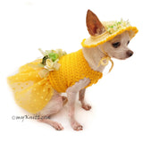 Polka Dot Dog Dress Tutu with Matching Sun Hat Flowers DF102 by Myknitt (5)